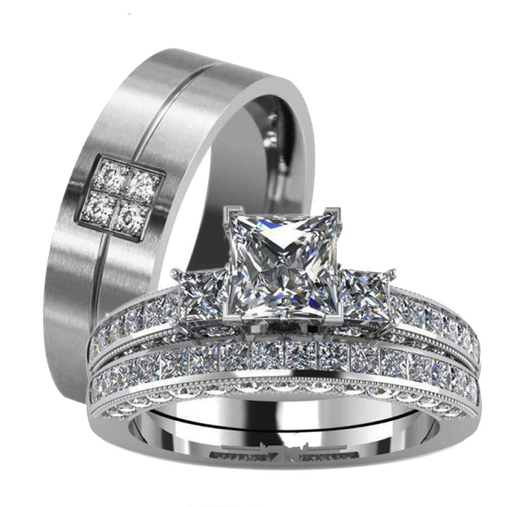 It is just an image of loversring Couple Ring Bridal Set His Hers White Gold Plated CZ Stainless Steel Wedding Ring Band Set