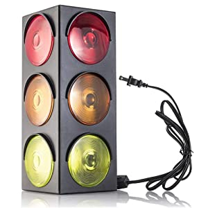 Kidsco Traffic Light Lamp-Plug-in, Blinking Triple Sided, 12.25 Inch-for Kids Bedrooms, Decorations, Parties, Celebrations