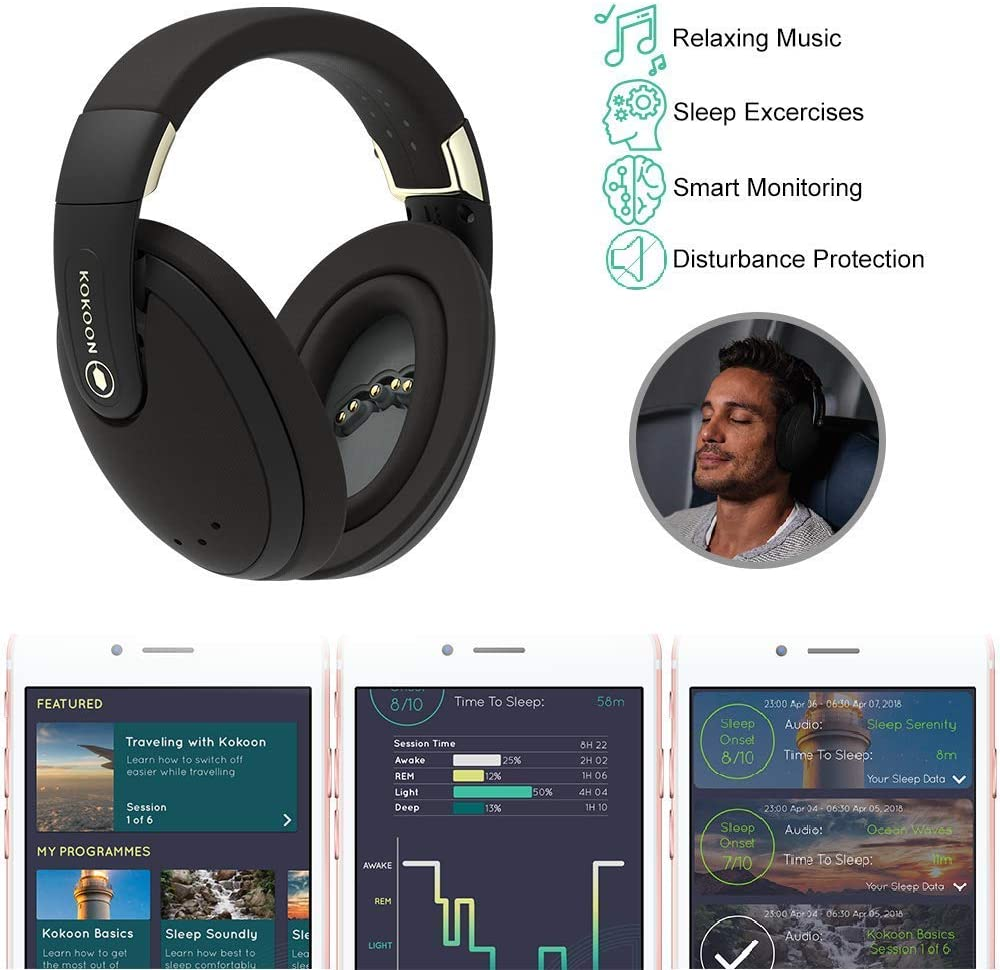Kokoon Noise Cancelling Headphones with Bluetooth App for Sleep Aid Techniques and Relaxing Audio, Wireless Over Ear Headphones with Flexmould Comfort Ear Pads for Sleep, Relax and Travel (Black)