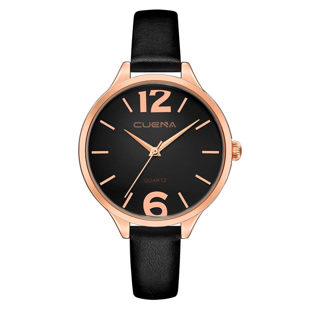 Iuhan Wrist Watch for Women Girls Holiday Deals, Women's Luxury Watches Quartz Watch Leather Band Dial Casual Bracelet Watch Great Gift for Christmas (Black)