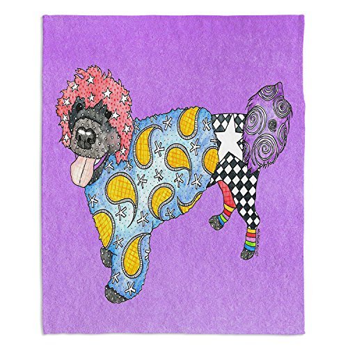 "Dia Noche Fleece Blankets Soft Fuzzy 4 Sizes! by Marley Ungaro - Portuguese Water Dog Violet - Toddler 40"" x 30"""