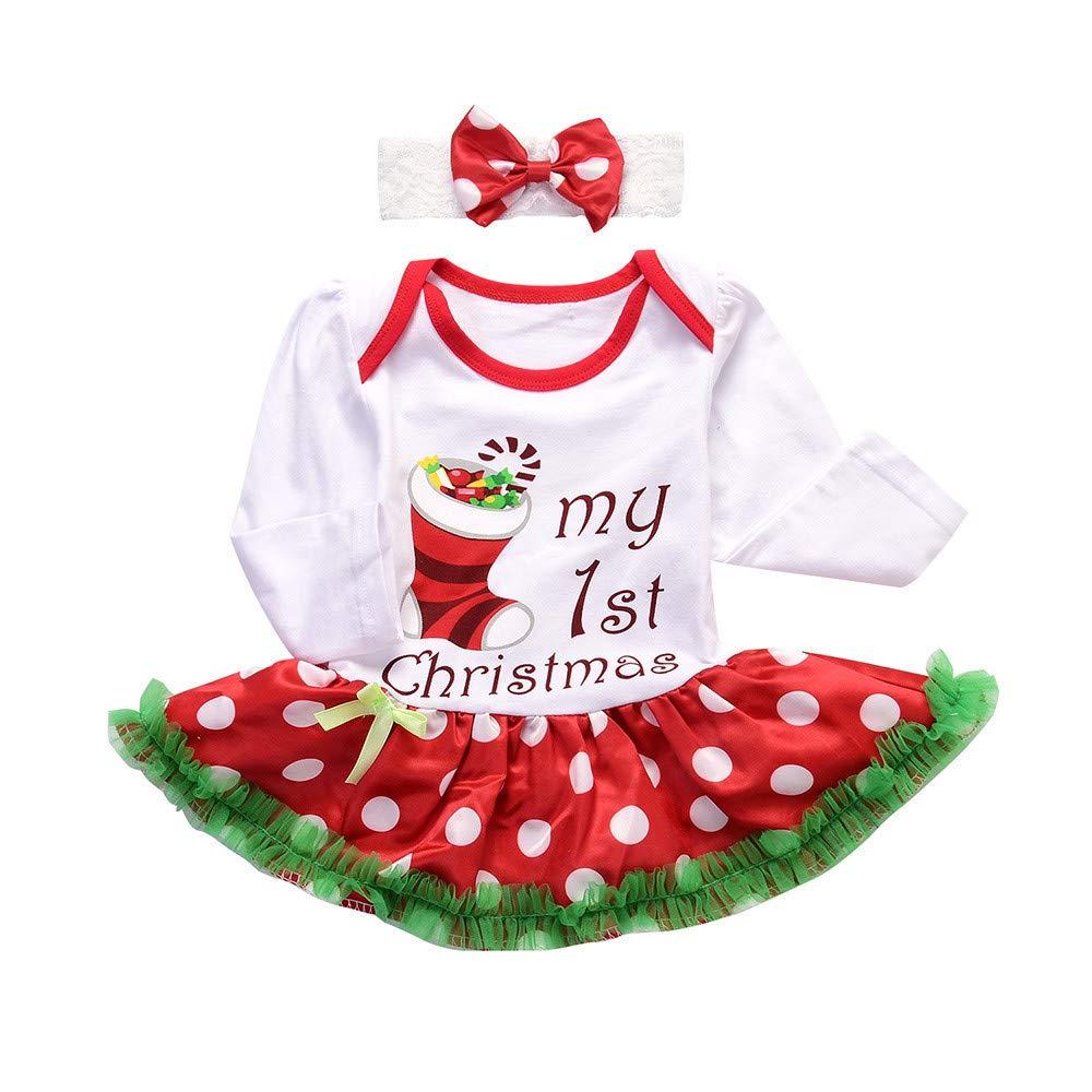 Amazon.com: Suma-ma Romper Tutu Dress Headband Christmas Outfits ...