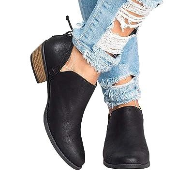 Damen Boots Kurze Stiefeletten für Frauen Winter Herbst Frühling Chunky  Block Gestapelte Fersen Runde Zehe Zip edc11d41e3