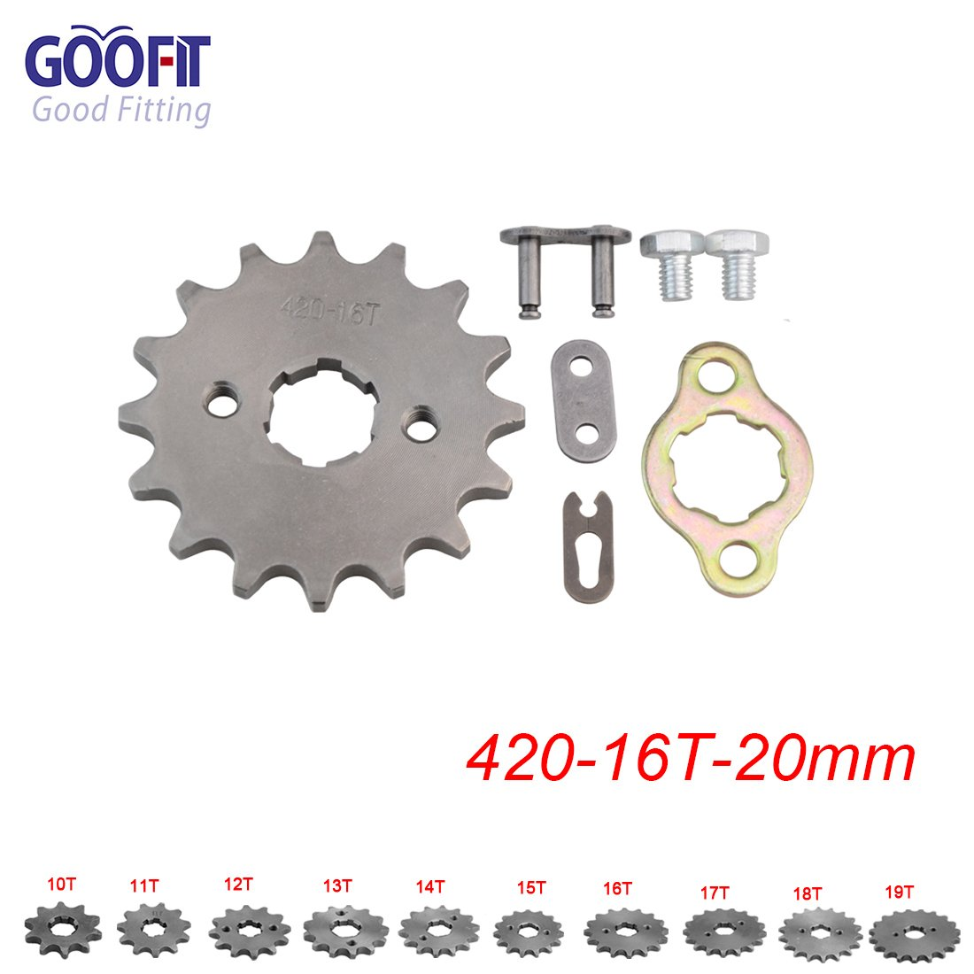 GOOFIT 428 16 20mm Tooth Front Engine motorcycle Sprocket Chain Retainer Plate LockerEngine For 50cc 70cc 90cc 110cc Motorcycle Dirt Bike ATV Quad