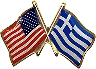 product image for Gettysburg Flag Works Set of 3 Greece & U.S. Crossed Flags Double Waving Friendship Lapel Pin - Made in The USA