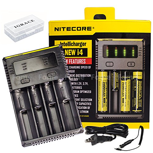 Smart battery charger, iGrace NITECORE NEW i4 (2016 New Version) Universal Smart battery Charger for Li-ion/IMR/LiFeP04/Ni-MH/Ni-Cd with 12V Car Adapter and iGrace Battery Box