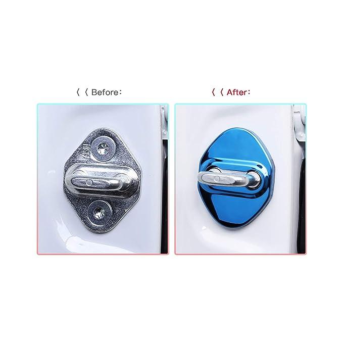 4 PCS Car Door Lock Cover for 2018 2019 C-HR CHR, Auto Door Lock Striker Protection Stainless Steel Red CDEFG