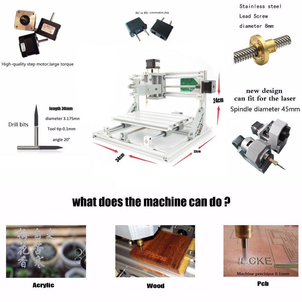 2-in-1 DIY CNC 2418 3 Axis CNC Router Kit + 2500mw Laser Engraver Wood Cutter - PCB Milling, Engraving Machine