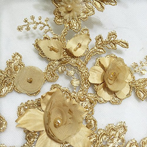LX01 bridal/wedding dress heavy beaded 3D flower corded lace sold by 1/2 yard - Flowers Gold Beaded