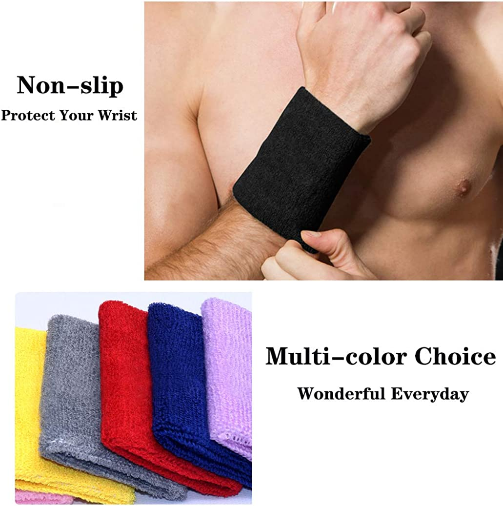 Black 4Pcs Elastic Athletic Cotton Wrist Bands for Football Basketball N-A Sports Wristband Running Athletic Sports