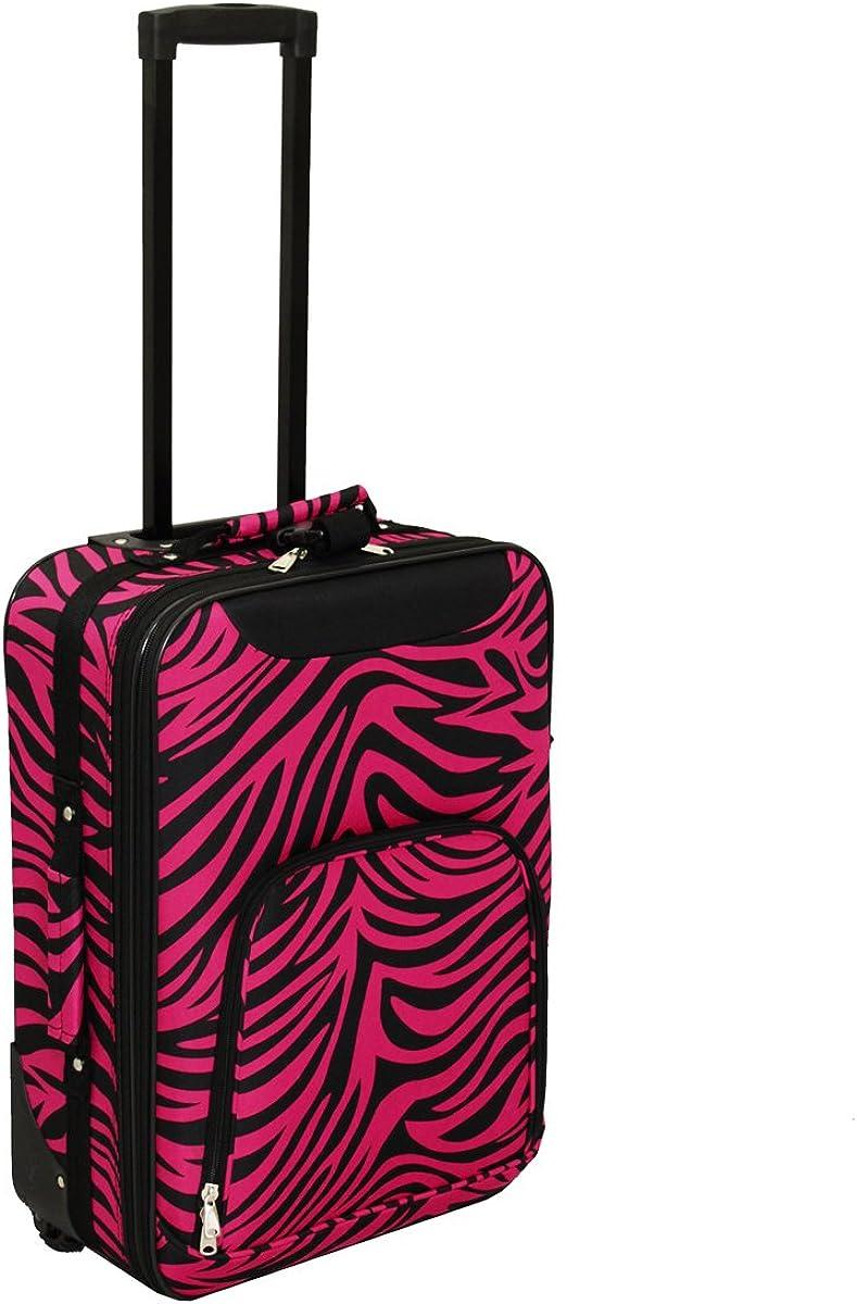 World Traveler Lightweight 20-inch Zebra Carry-on Upright Fuchsia//Black