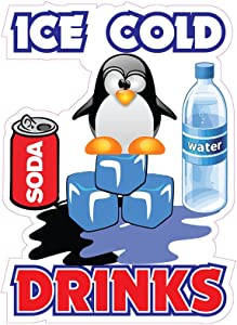 Ice Cold Drinks Concession Restaurant Food Truck Die-Cut Vinyl Sticker 10 inches