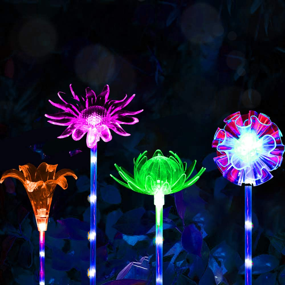 CGN 4 Pack Garden Solar Lights Outdoor Waterproof Decorative Lights Stake Lights Camping Multi-Color Changing, Solar Yard Decorations