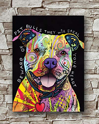 Zero.o Beware of Pit Bulls They Will Steal Your Heart Poster Size 18 Inches X 24 Inches,Pit Bulls Posters Wall Poster -