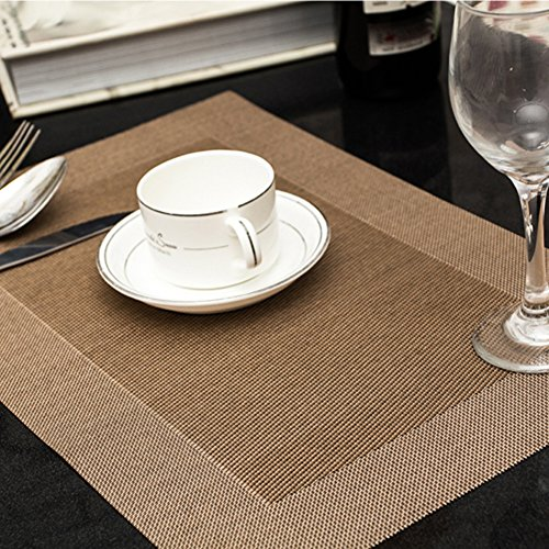 Ruivya Anti-skid Stain Resistant Table Mats Heat-resistant Classic Ring Placemats 011 Set of 4 (Brown Double Insulated Teapot)