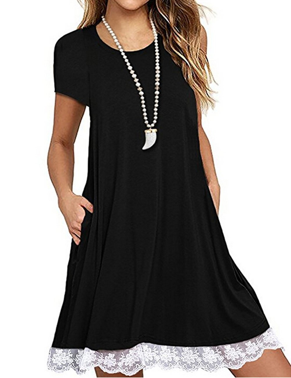 Halife Casual T Shirt Dress for Women Flowy Tunic Dress with Pockets Black,L