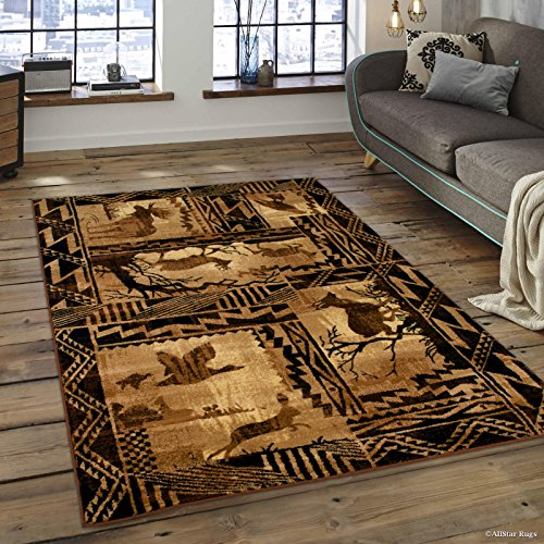 Allstar 8x10 Ivory and Mocha Cabin Rectangular Accent Rug with Espresso Wildlife Framed Forest Animal Collage Design (7' 6