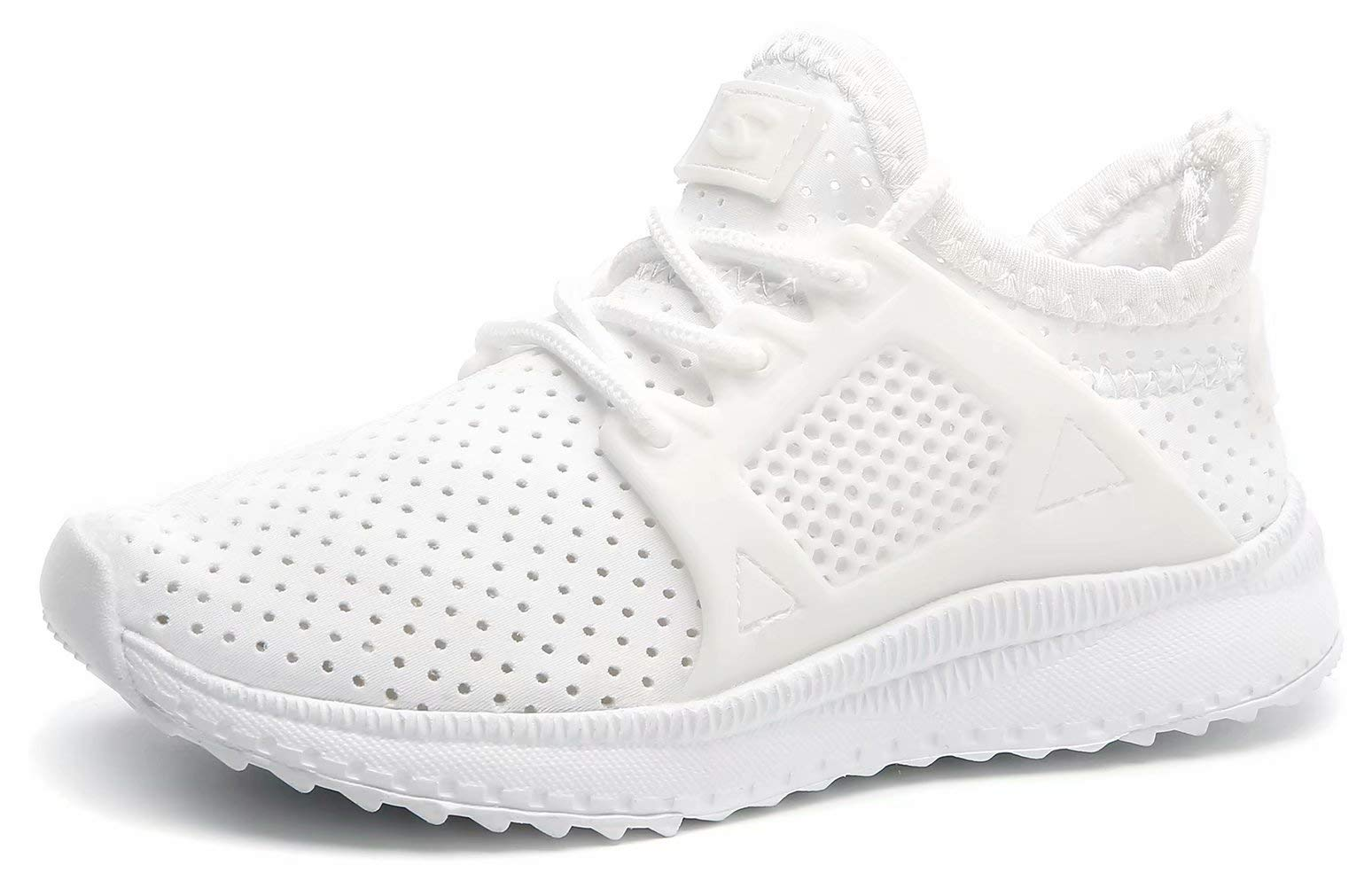 BODATU Kids Boys Girls Running Shoes Breathable Casual Lightweight Hollow Out Slip on Sneakers White 30
