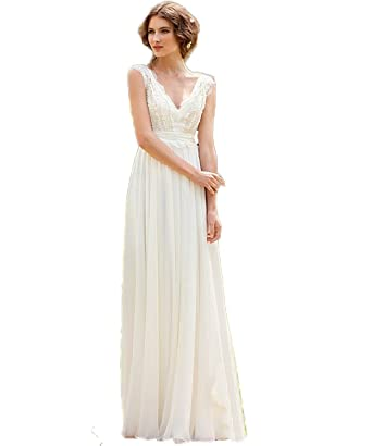 VIPbridal Vintage Bohemian Lace Beach Wedding Dresses Simple Chiffon Boho  Bridal Gown  Amazon.co.uk  Clothing 8a29e5fb6cc5