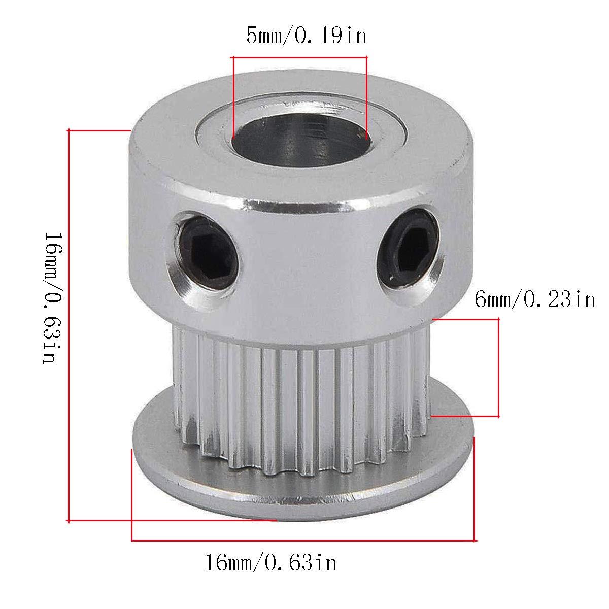 larghezza 6mm Pack-of-2 GT2 Puleggia cinghia dentata ingranaggio sincrono Ruota in alluminio per stampante 3D 40 denti foro 8mm