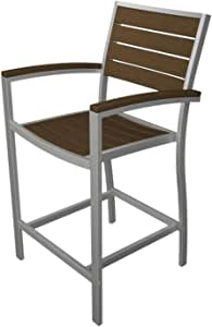 """41"""" Earth-Friendly Recycled Patio Counter Chair - Teak Brown with Silver Frame"""