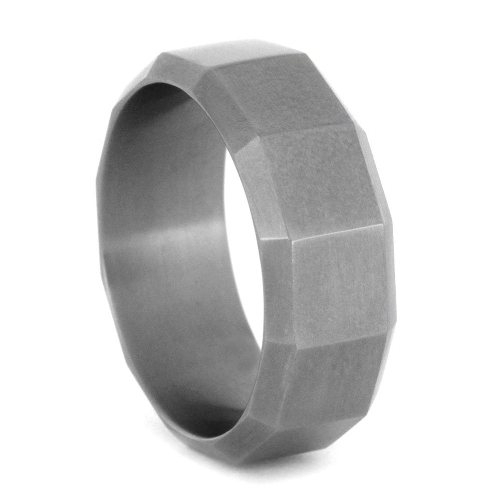 Rugged Design 8mm Comfort-Fit Matte Titanium Wedding Band, Size 14.25 by The Men's Jewelry Store (Unisex Jewelry)