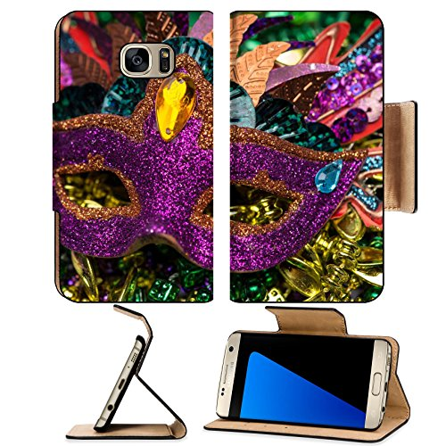 Luxlady Premium Samsung Galaxy S7 Edge Flip Pu Leather Wallet Case IMAGE ID 26111610 Close up view of purple sequined Mardi Gras mask with colorful beads out focus in the (Carnavale Costumes)