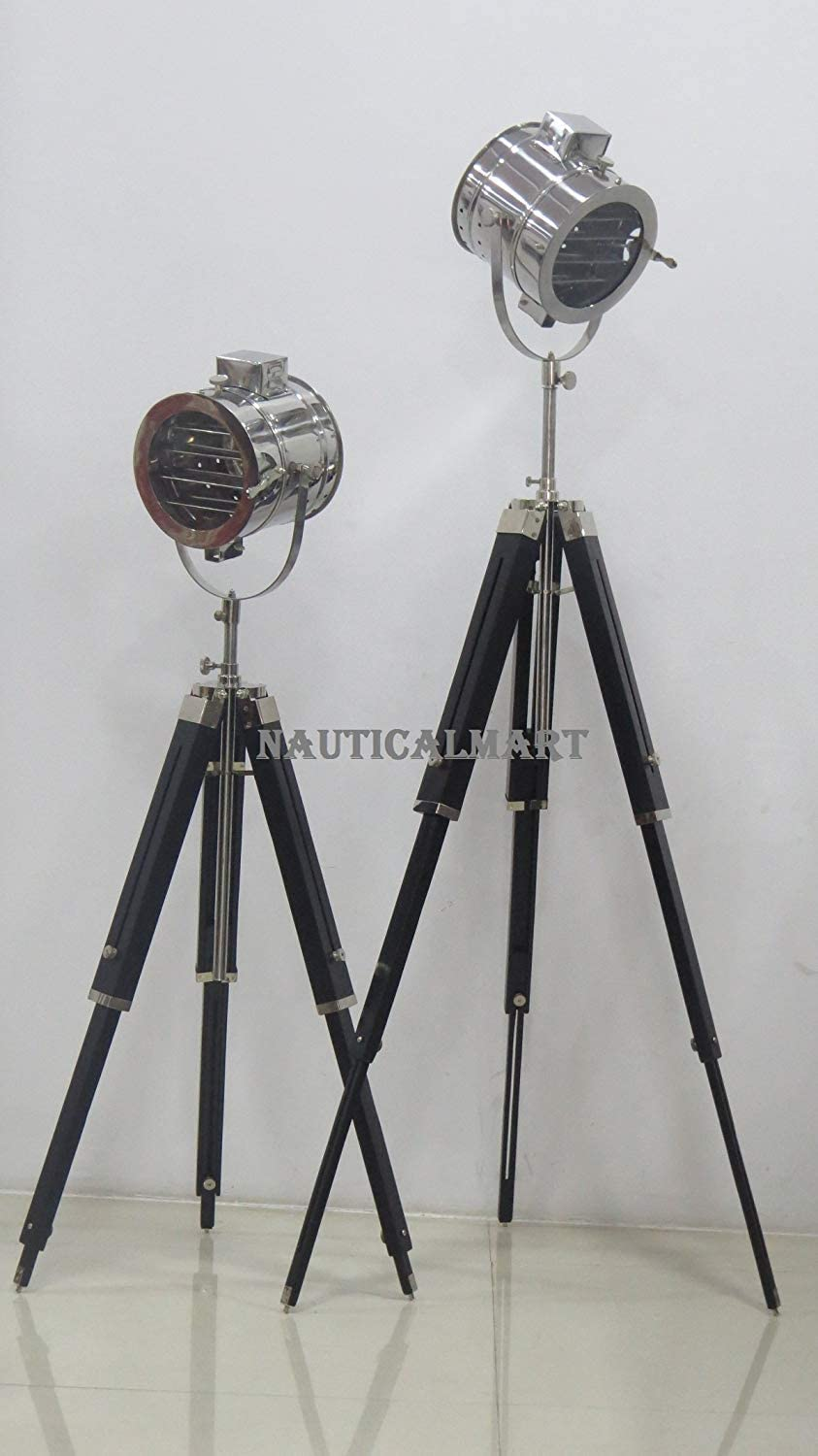 Lamp Decor Vintage Industrial Searchlight Theater Stage Spotlight Tripod Floor Lamp - Set of 2