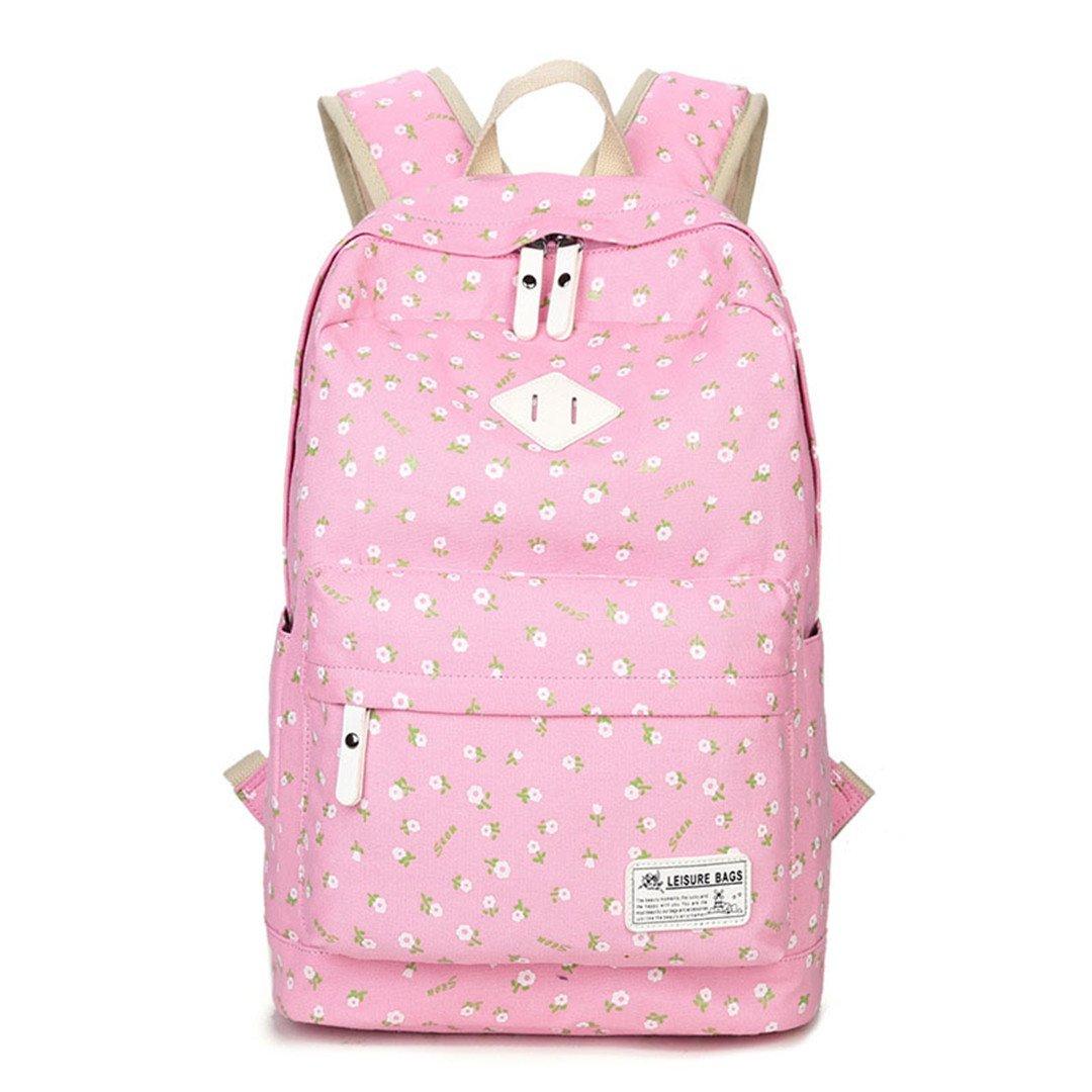 Drucken Rucksack Zurück Schultaschen Für Mädchen Leinwand Rucksack Frauen Kinder Schulmädchen Teenager Rucksäcke Rosa 30x16x43cm