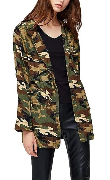 0cd563e14d2 Frieed Women Military Camo Print Lightweight Stylish Buttons Jacket Coat at  Amazon Women s Coats Shop