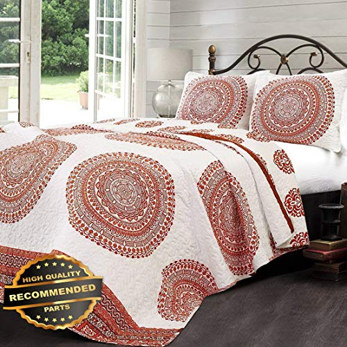- Werrox 3pc Shaila Tangerine Medallion Quilt Set King or Queen Bohemian Geo Reversible Size | Quilt Style QLTR-291268265