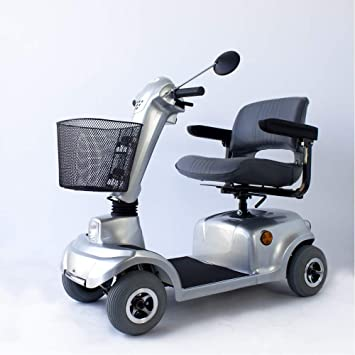 Mobiclinic Scooter eléctrico con 4 Ruedas | Desmontable | para Adultos | Compacto | con Asiento | Color Gris | para minusválidos | Mod.