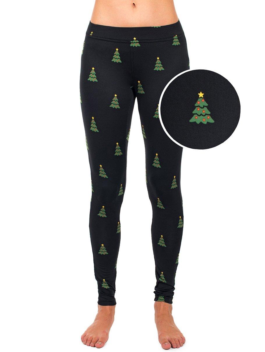 Tipsy Elves Women's Christmas Tree Leggings Holiday Pants (Large)