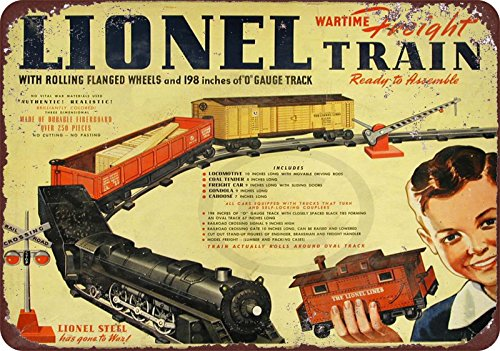 1942 Lionel Wartime Freight Train Vintage Reproduction Metal Sign 8X12