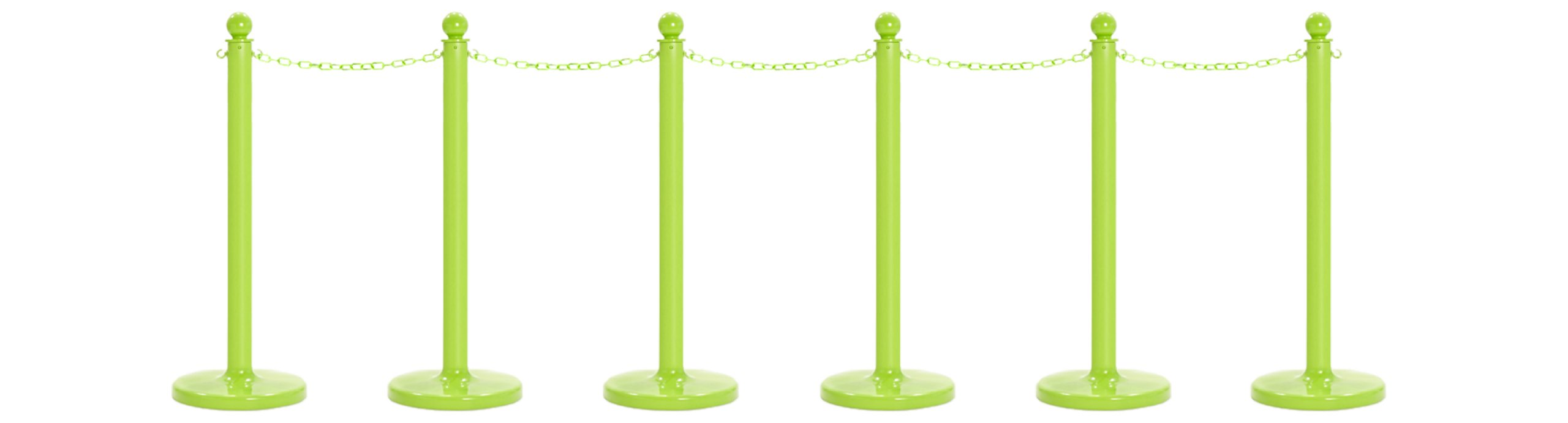 Mr. Chain 71114-6 Safety Green Plastic Stanchion Kit with 50' of 2'' link Chain and C-Hooks, Pack of 6