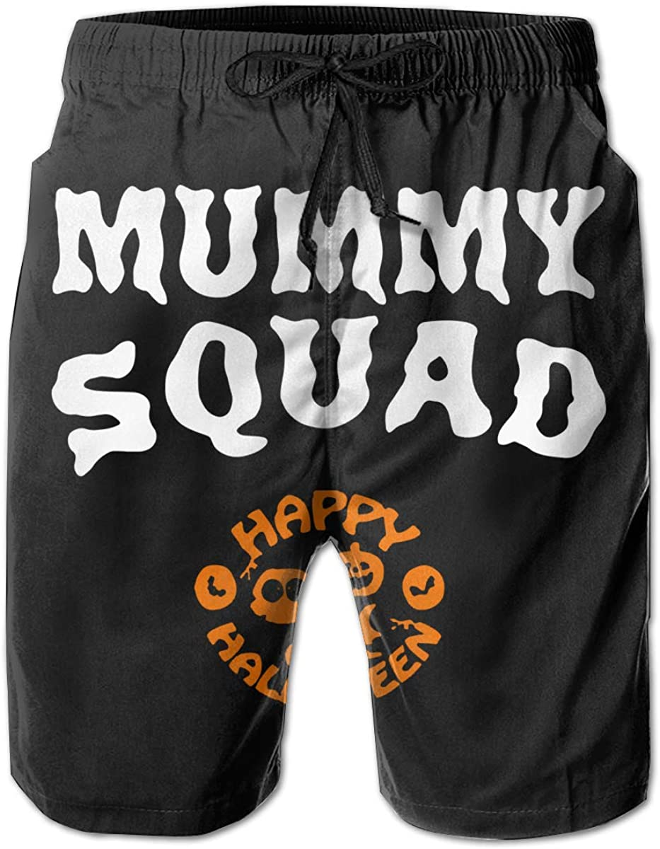 UHT28DG Mummy Squad Funny Halloween Mens Beach Board Shorts Quick Dry Swim Trunks