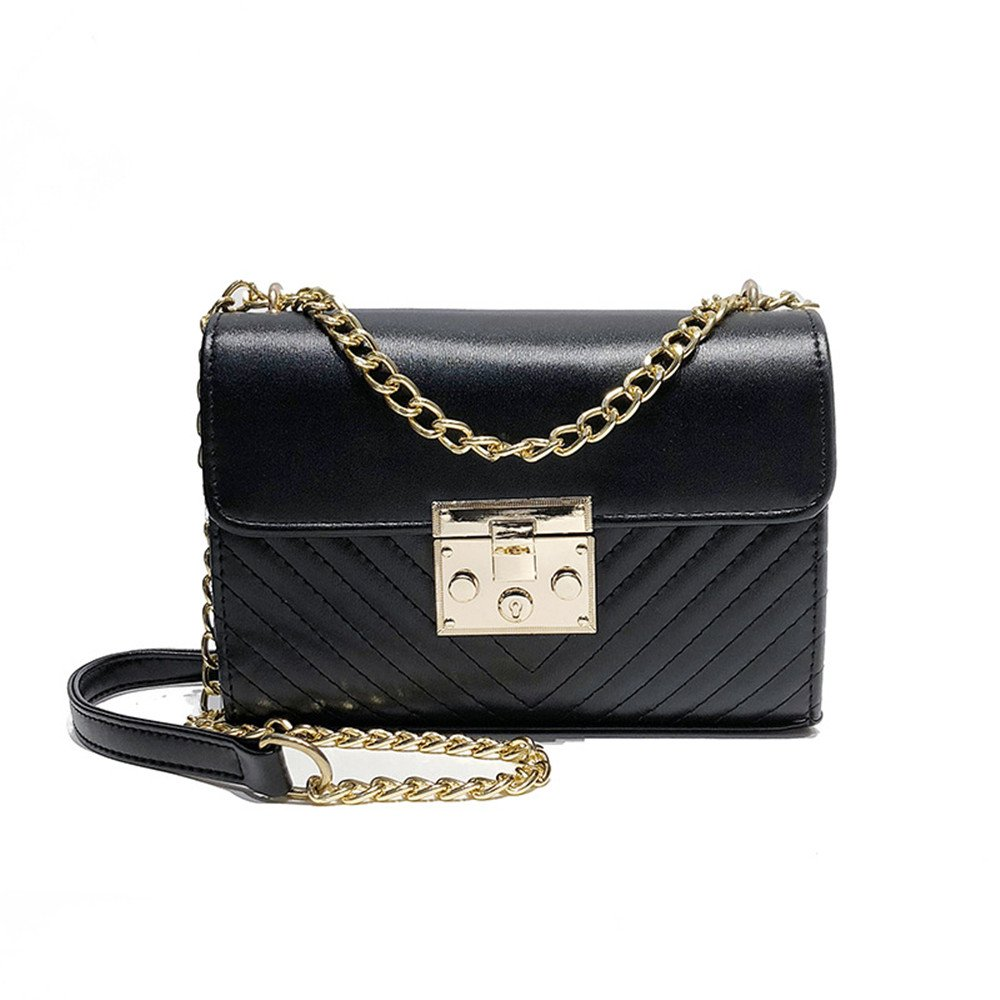 Amyannie Casual Spring And Summer PU Waterproof Chain Single Shoulder Slung Female Small Square Bag Color : Black