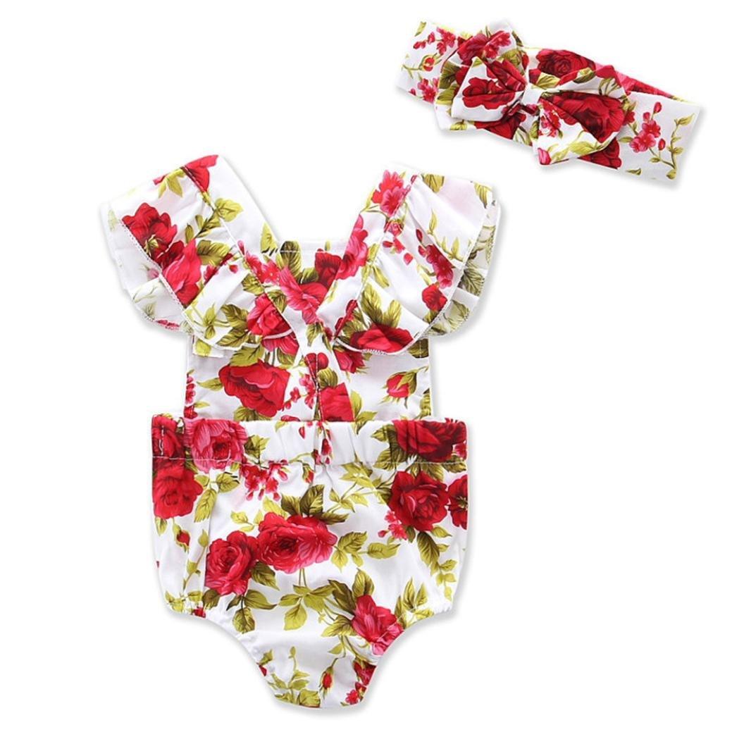 Longra Petites filles Fleurs Impression Combinaison Romper + Bandeau Vêtements