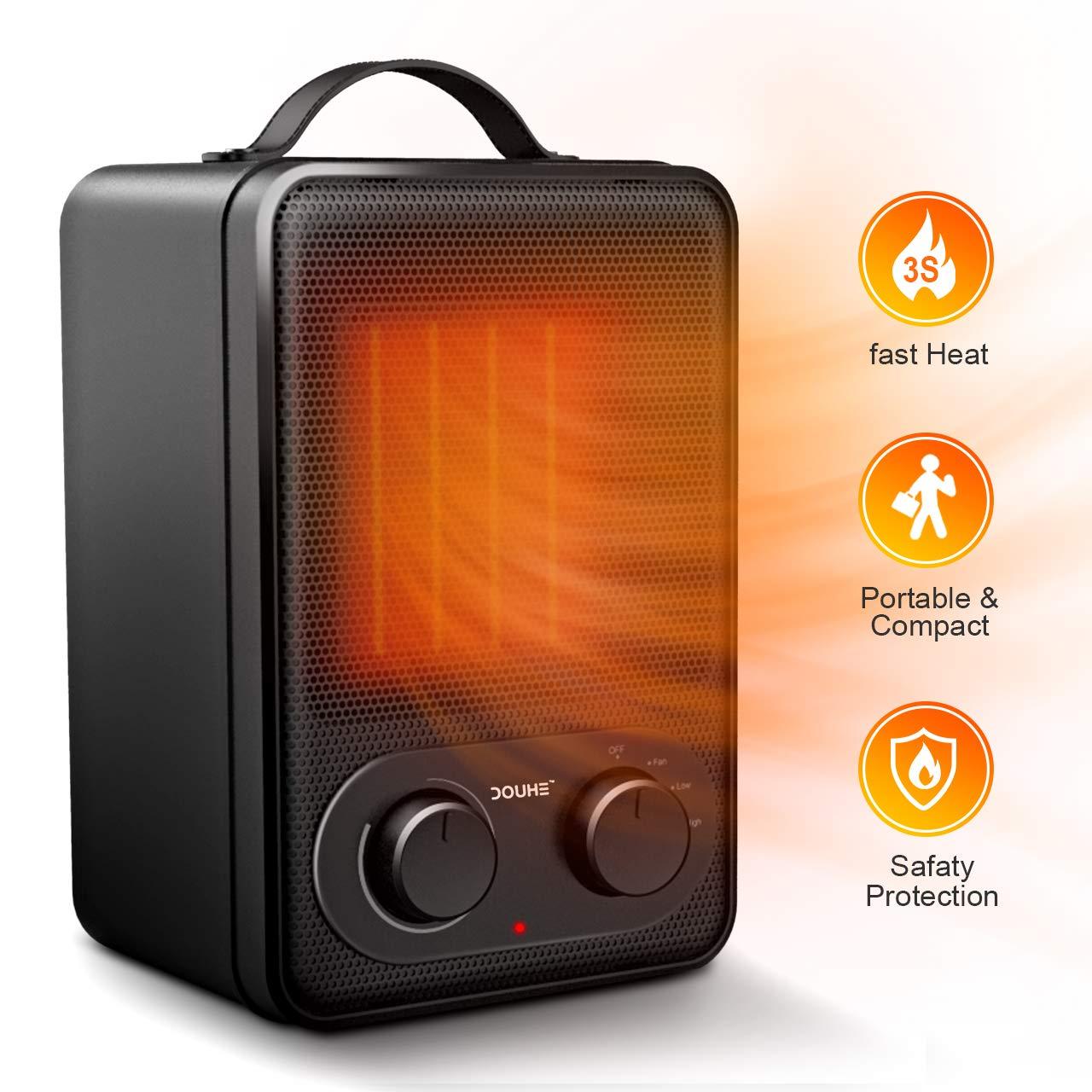 Calefactor de Potencia Regulable Eléctrico, DOUHE Calentador de Ventilador PTC Elemento de Cerámica 1800W/1000W/Viento Natural Ahorro Energía para ...