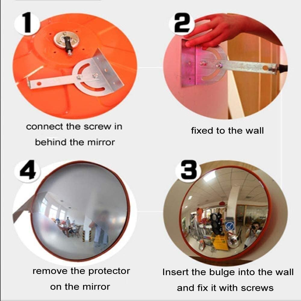 Safe Blind Spot Monitoring Parking Road Security Mirror for Store Security and Wall-Mounted Viewing Mirrors PC Plastic Orange Round Traffic Mirror Gneg Convex Mirror