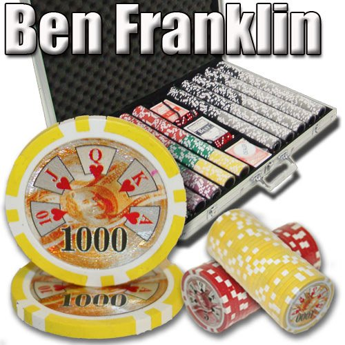 1000 Ben Franklin Poker Chip Set. 14 Gram Heavy Weighted Poker Chips. by Brybelly