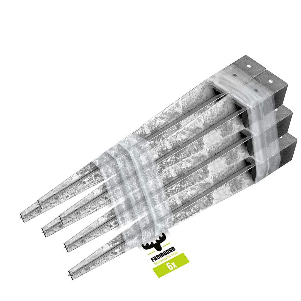 6er Set FATMOOSE Einschlagh/ülse Pfostenh/ülse 90x90x900mm Befestigungselement Vierkant