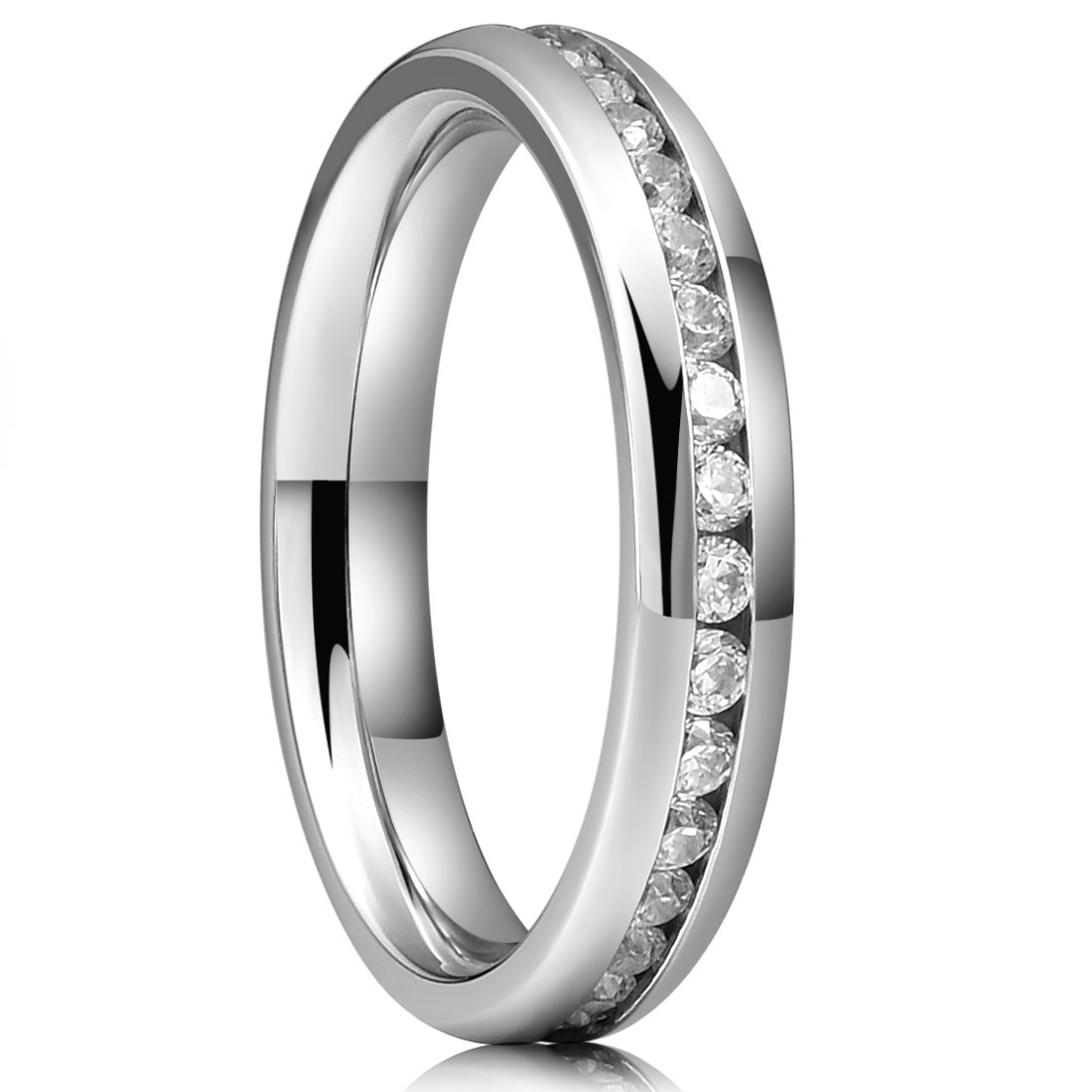 Three Keys Jewelry 4mm Womens Titanium Wedding Ring Polished with 1.5mm Cubic Zirecon CZ Inlay Wedding Band Engagement Ring Size 5.5