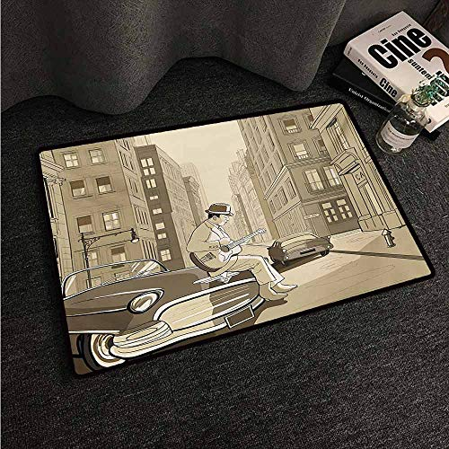 HCCJLCKS Front Door Mat Large Outdoor Indoor Jazz Music Illustration of a Guitarist in an Old Street of New York Buildings Music Cityscape Easy to Clean Carpet W30 xL39 Beige