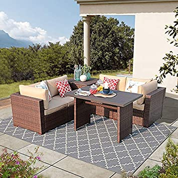 Super Patio Outdoor Patio Coffee Table, Wicker Rectangular Dining Table with Aluminum Table Top, Steel Frame Brown