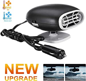 Car Heater 12V Car Windshield Defogger Defroster 12 Volt 150W Plug in Auto Heater Fan 30 Seconds Fast Heating Demister (Black)