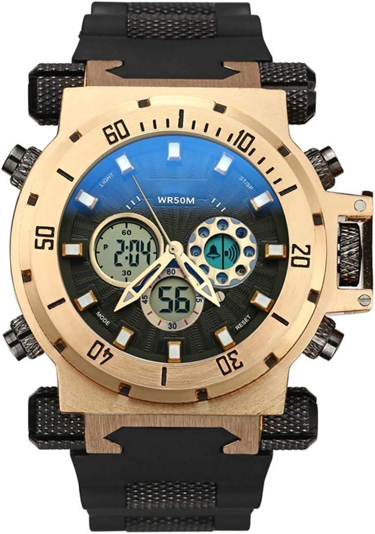 XIGG Reloj Digital Hombre Deportivo Relojes Sumergible Relojes de Pulsera Grande Analogico, Multifunciones para Deportes Exteriores con Alarma, Cronómetro, Alarma,Goldenblack: Amazon.es: Jardín