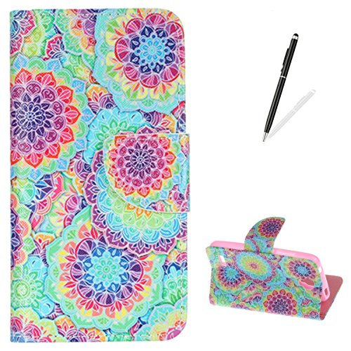 Huawei Y560 Flip Leather Wallet Case KaseHom [Free Black Touch Stylus] Colorful Kaleidoscope Design Magnetic with [Function Card Slots][Kickstand] Slim Durable Anti Scratch Bumper Cover