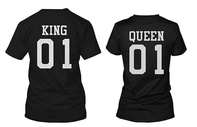 King 01 y de la Reina 01 Back Print Juego de Pareja Camisas Idea de regalo