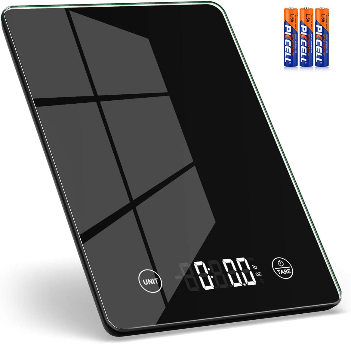 Mik-Nana Food Scale - 5KG/11lb Digital Food Kitchen Scale Weight Grams and Ounces for Baking and Cooking, Tare Function and LED Backlit Display - 1g/0.1oz Precise Graduation, Tempered Glass